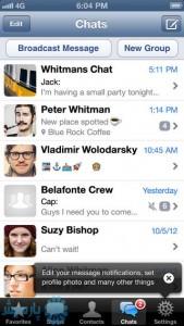 صفحهی اصلی اپلیکیشن واتس اپ