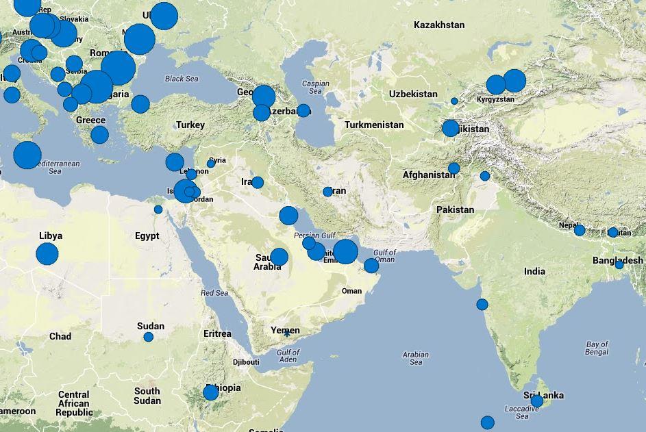 سرعت اینترنت برروی نقشه جغرافیایی