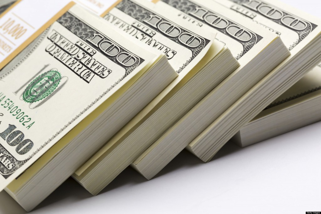 Dollars pack on white background